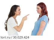 Купить «Angry young female friends having an argument», фото № 30029424, снято 15 августа 2013 г. (c) Wavebreak Media / Фотобанк Лори