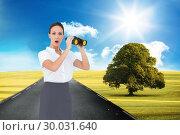 Купить «Composite image of astonished elegant businesswoman holding binoculars», фото № 30031640, снято 2 ноября 2013 г. (c) Wavebreak Media / Фотобанк Лори