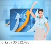 Купить «Composite image of furious classy businesswoman throwing her calculator», фото № 30032476, снято 2 ноября 2013 г. (c) Wavebreak Media / Фотобанк Лори