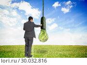Купить «Composite image of businessman standing on ladder», фото № 30032816, снято 2 ноября 2013 г. (c) Wavebreak Media / Фотобанк Лори