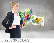 Купить «Composite image of businesswoman standing with hands on hips», фото № 30033472, снято 2 ноября 2013 г. (c) Wavebreak Media / Фотобанк Лори
