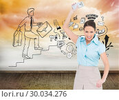 Купить «Composite image of furious classy businesswoman throwing her calculator», фото № 30034276, снято 2 ноября 2013 г. (c) Wavebreak Media / Фотобанк Лори