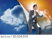Купить «Composite image of unsmiling businessman catching», фото № 30034916, снято 2 ноября 2013 г. (c) Wavebreak Media / Фотобанк Лори