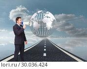 Купить «Composite image of standing businessman shouting through a megaphone», фото № 30036424, снято 9 ноября 2013 г. (c) Wavebreak Media / Фотобанк Лори