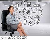 Купить «Composite image of portrait of a serious businesswoman sitting on an armchair», фото № 30037264, снято 9 ноября 2013 г. (c) Wavebreak Media / Фотобанк Лори