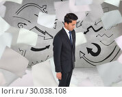 Купить «Composite image of stern businessman looking down», фото № 30038108, снято 10 ноября 2013 г. (c) Wavebreak Media / Фотобанк Лори