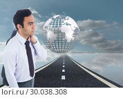 Купить «Composite image of unsmiling businessman standing», фото № 30038308, снято 10 ноября 2013 г. (c) Wavebreak Media / Фотобанк Лори
