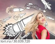 Купить «Composite image of smiling blonde standing hands on hips», фото № 30039720, снято 10 ноября 2013 г. (c) Wavebreak Media / Фотобанк Лори