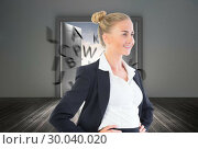 Купить «Composite image of businesswoman standing with hands on hips», фото № 30040020, снято 10 ноября 2013 г. (c) Wavebreak Media / Фотобанк Лори
