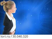 Купить «Composite image of businesswoman standing with hands on hips», фото № 30040320, снято 10 ноября 2013 г. (c) Wavebreak Media / Фотобанк Лори
