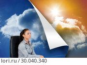 Купить «Composite image of portrait of a serious businesswoman sitting on an armchair», фото № 30040340, снято 10 ноября 2013 г. (c) Wavebreak Media / Фотобанк Лори