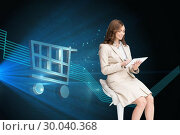 Купить «Composite image of happy businesswoman using tablet», фото № 30040368, снято 10 ноября 2013 г. (c) Wavebreak Media / Фотобанк Лори