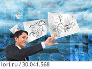 Купить «Composite image of smiling asian businessman pointing», фото № 30041568, снято 10 ноября 2013 г. (c) Wavebreak Media / Фотобанк Лори
