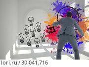 Купить «Composite image of businessman catching», фото № 30041716, снято 10 ноября 2013 г. (c) Wavebreak Media / Фотобанк Лори