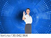 Купить «Composite image of elegant businesswoman showing an okay gesture», фото № 30042964, снято 11 ноября 2013 г. (c) Wavebreak Media / Фотобанк Лори