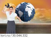 Купить «Composite image of angry businesswoman throwing binoculars away», фото № 30044332, снято 11 ноября 2013 г. (c) Wavebreak Media / Фотобанк Лори