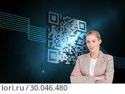 Composite image of confident female executive with folded arms . Стоковое фото, агентство Wavebreak Media / Фотобанк Лори