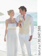 Купить «Smiling newlyweds having champagne linking arms», фото № 30047588, снято 9 октября 2013 г. (c) Wavebreak Media / Фотобанк Лори