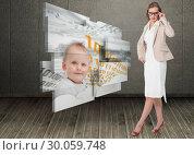 Composite image of severe pretty businesswoman looking at camera. Стоковое фото, агентство Wavebreak Media / Фотобанк Лори