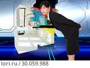 Купить «Composite image of serious businesswoman bending», фото № 30059988, снято 10 января 2014 г. (c) Wavebreak Media / Фотобанк Лори