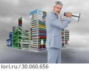 Купить «Composite image of furious businessman posing with loudspeaker», фото № 30060656, снято 10 января 2014 г. (c) Wavebreak Media / Фотобанк Лори