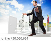 Купить «Composite image of businessman posing with arms outstretched», фото № 30060664, снято 10 января 2014 г. (c) Wavebreak Media / Фотобанк Лори