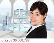Купить «Composite image of smiling businesswoman», фото № 30060788, снято 10 января 2014 г. (c) Wavebreak Media / Фотобанк Лори