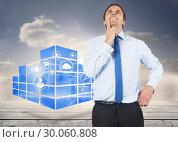 Купить «Composite image of thinking businessman touching his chin», фото № 30060808, снято 10 января 2014 г. (c) Wavebreak Media / Фотобанк Лори