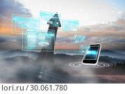Купить «Composite image of business interfaces and smarpthone», фото № 30061780, снято 11 января 2014 г. (c) Wavebreak Media / Фотобанк Лори