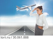 Купить «Composite image of focused businesswoman», фото № 30061888, снято 11 января 2014 г. (c) Wavebreak Media / Фотобанк Лори