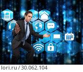 Купить «Composite image of businessman posing with arms outstretched», фото № 30062104, снято 11 января 2014 г. (c) Wavebreak Media / Фотобанк Лори