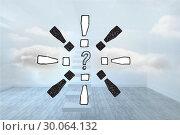 Купить «Composite image of question mark doodle with exclamation marks», фото № 30064132, снято 11 января 2014 г. (c) Wavebreak Media / Фотобанк Лори