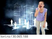 Купить «Composite image of young female shouting», фото № 30065188, снято 11 января 2014 г. (c) Wavebreak Media / Фотобанк Лори
