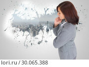 Купить «Composite image of focused businesswoman», фото № 30065388, снято 11 января 2014 г. (c) Wavebreak Media / Фотобанк Лори