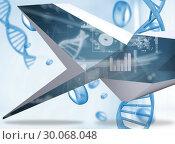 Купить «Composite image of interface on abstract screen», фото № 30068048, снято 29 января 2014 г. (c) Wavebreak Media / Фотобанк Лори