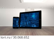 Купить «Composite image of interface on tablet and smartphone screens», фото № 30068652, снято 30 января 2014 г. (c) Wavebreak Media / Фотобанк Лори