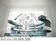 Купить «Composite image of media brainstorm in a curved structure», фото № 30069308, снято 30 января 2014 г. (c) Wavebreak Media / Фотобанк Лори