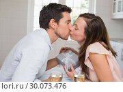 Купить «Loving young couple kissing at home», фото № 30073476, снято 12 декабря 2013 г. (c) Wavebreak Media / Фотобанк Лори