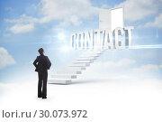 Contact against steps leading to open door in the sky. Стоковое фото, агентство Wavebreak Media / Фотобанк Лори