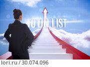 Купить «To do list against red steps arrow pointing up against sky», фото № 30074096, снято 21 марта 2014 г. (c) Wavebreak Media / Фотобанк Лори