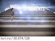 Купить «Requirements against steps against blue sky», фото № 30074128, снято 21 марта 2014 г. (c) Wavebreak Media / Фотобанк Лори