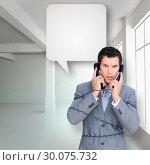Купить «Composite image of angry businessman tangle up in phone wires », фото № 30075732, снято 22 марта 2014 г. (c) Wavebreak Media / Фотобанк Лори
