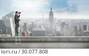 Купить «Composite image of businessman standing on ladder», фото № 30077808, снято 25 марта 2014 г. (c) Wavebreak Media / Фотобанк Лори