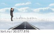 Купить «Composite image of businessman standing on ladder», фото № 30077816, снято 25 марта 2014 г. (c) Wavebreak Media / Фотобанк Лори