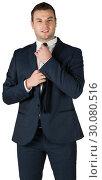 Купить «Businessman tightening his tie», фото № 30080516, снято 11 марта 2014 г. (c) Wavebreak Media / Фотобанк Лори