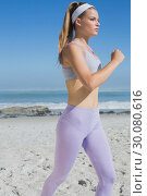 Купить «Sporty focused blonde jogging on the beach», фото № 30080616, снято 12 февраля 2014 г. (c) Wavebreak Media / Фотобанк Лори