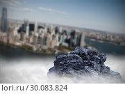 Купить «Large rock overlooking island city», фото № 30083824, снято 23 мая 2014 г. (c) Wavebreak Media / Фотобанк Лори