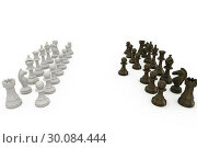 Купить «Wooden chess pieces facing off », фото № 30084444, снято 27 мая 2014 г. (c) Wavebreak Media / Фотобанк Лори