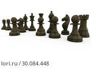 Купить «Black wooden chess pieces standing», фото № 30084448, снято 27 мая 2014 г. (c) Wavebreak Media / Фотобанк Лори