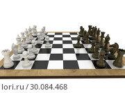 Купить «Chess pieces facing off on board», фото № 30084468, снято 27 мая 2014 г. (c) Wavebreak Media / Фотобанк Лори